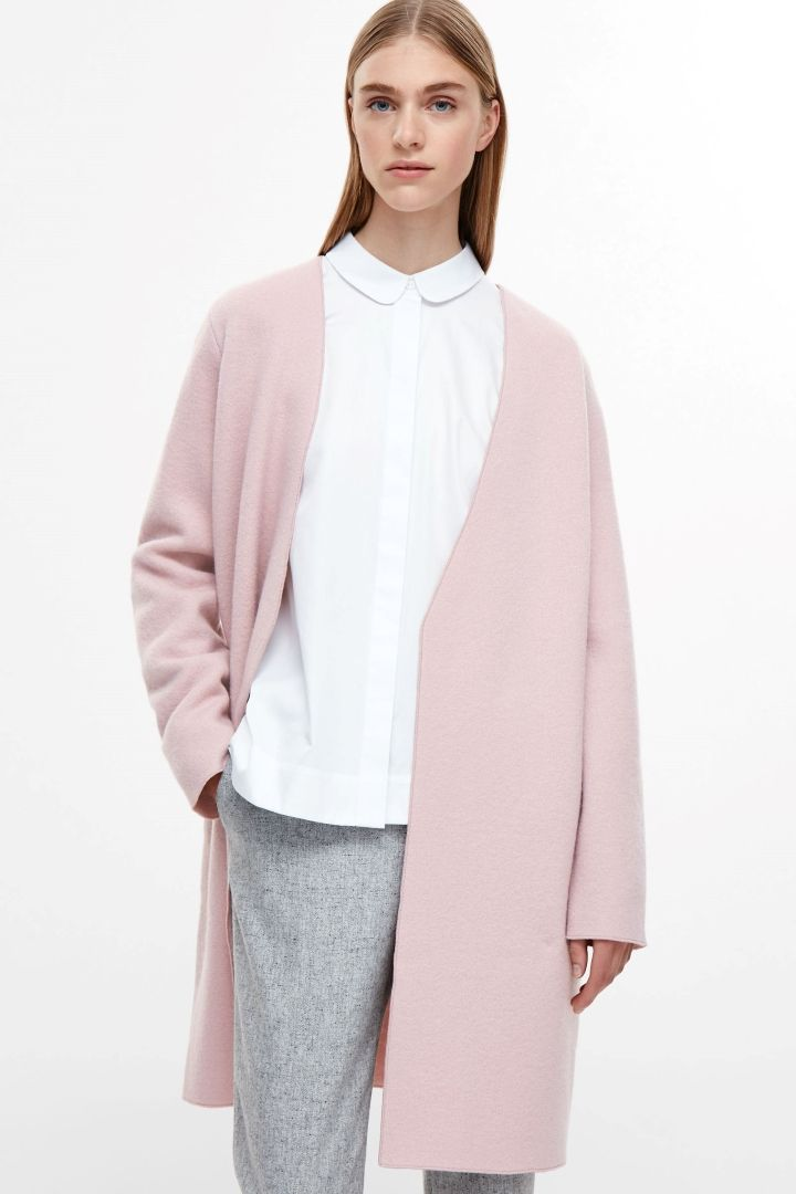COS image 7 of Open-front wool cardigan in Rose Pink | Style ...
