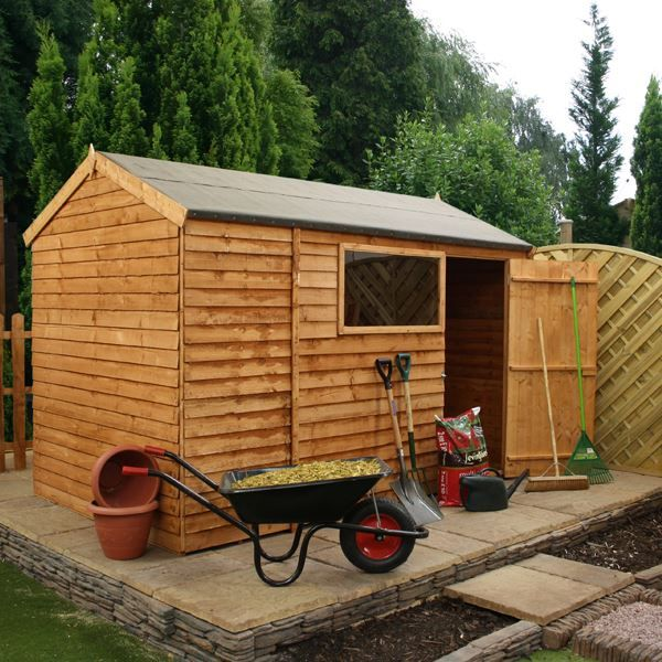 Waltons 10 X 6 Overlap Single Door Reverse Apex Wooden Shed Wooden Sheds Shed Wooden Garden Buildings