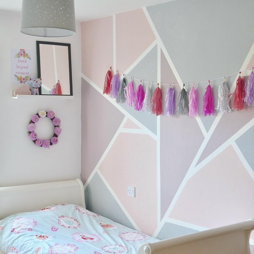 Beautiful Geometric Wall In A Little Girls Room. In Pink, Lilac And Grey