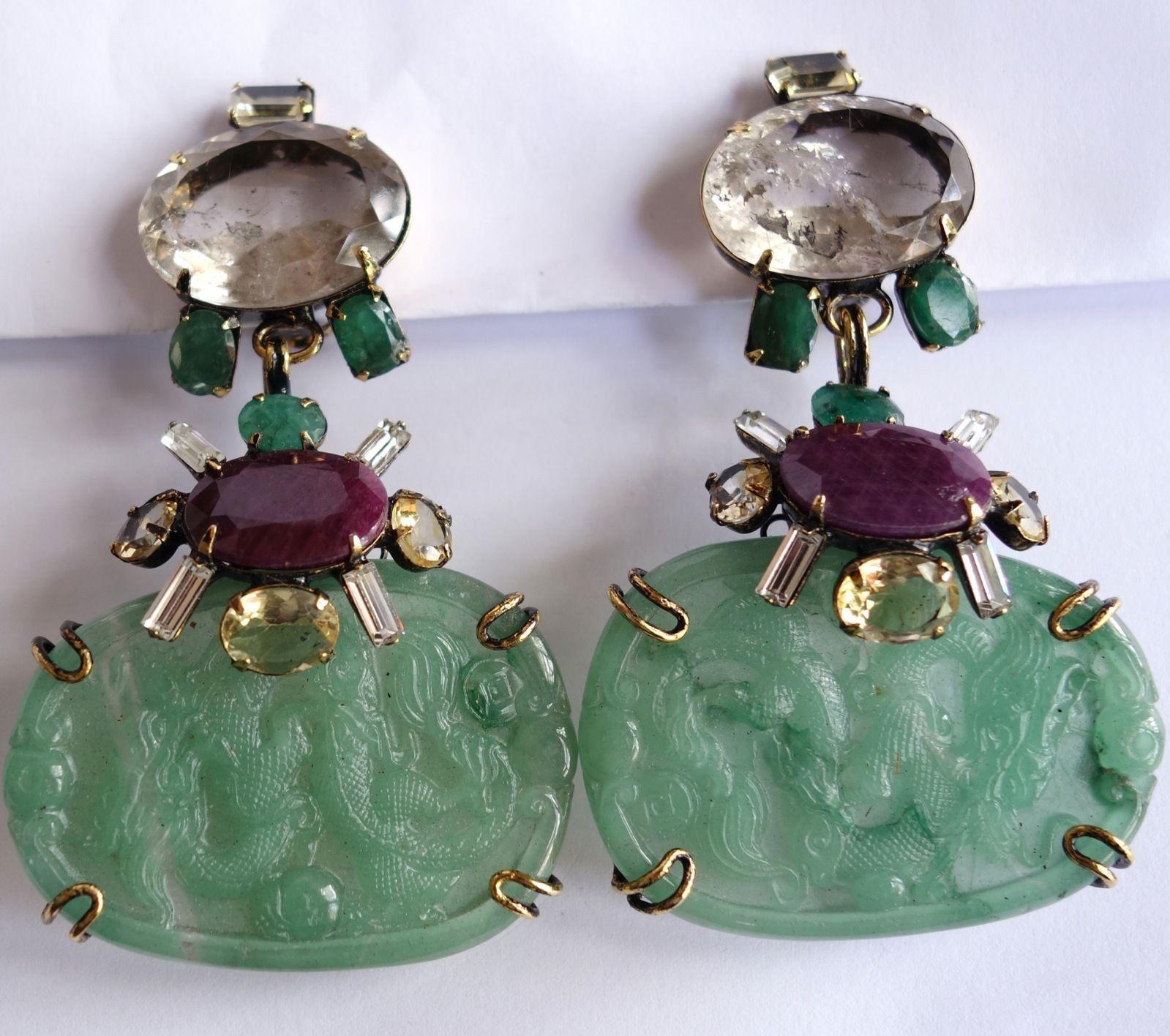 Huge Iradj Moini Carved Jade Ruby Emerald Convertible Clip Earrings