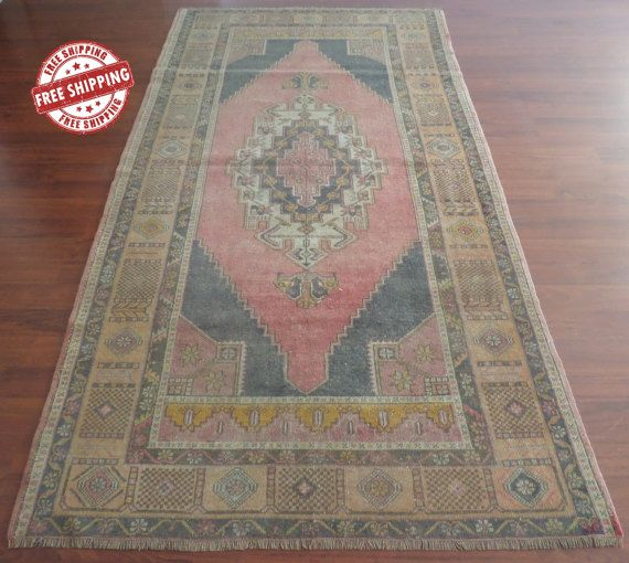 Vintage Turkish Rug 5x8 Faded Oushak Area