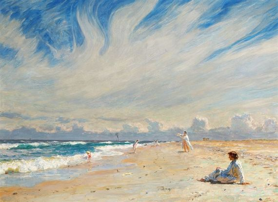 """Laurits Regner Tuxen, Badeliv paa Skagens Nordstrand. Middagssol"""". Seaside life on Skagen beach in the midday sun, 1909"""