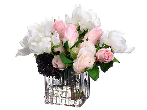 10h Peony Rose Sedum Floral In Glass Vase Peony Rose Peony And