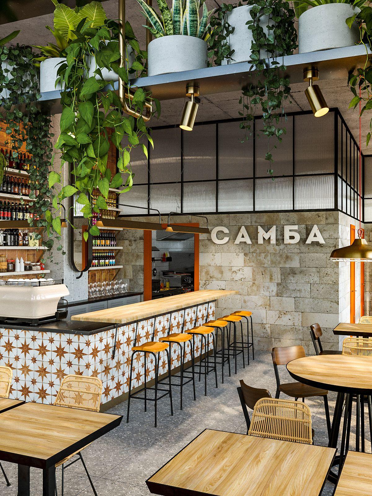 Samba Cafe Interior On Behance Cafe Interior Design Cafe Bar Design Cafe Interior
