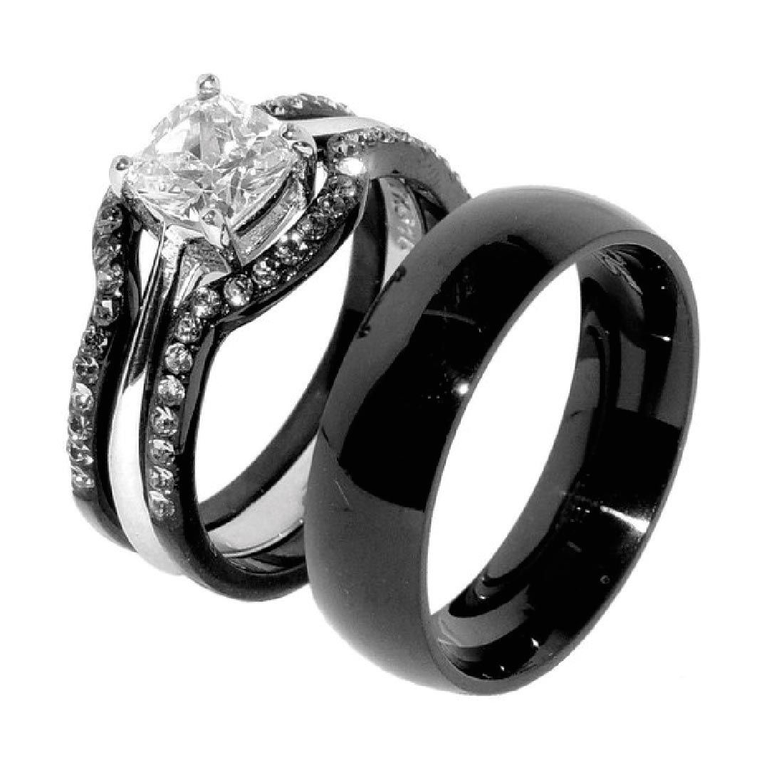His Hers 4 Pcs Black Ip Stainless Steel Wedding Ring Set Mens Matching Band Black Wedding Rings Stainless Steel Wedding Ring Black Engagement Ring