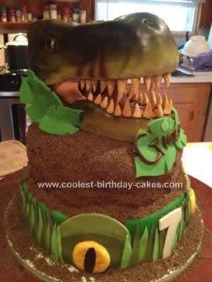 Coolest T Rex Fossil Cake Dinosaur cake Homemade and Birthdays