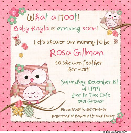 Brown Owl Baby Invitation   Pink Girl Hoots Flowers Whoou0027s Shower