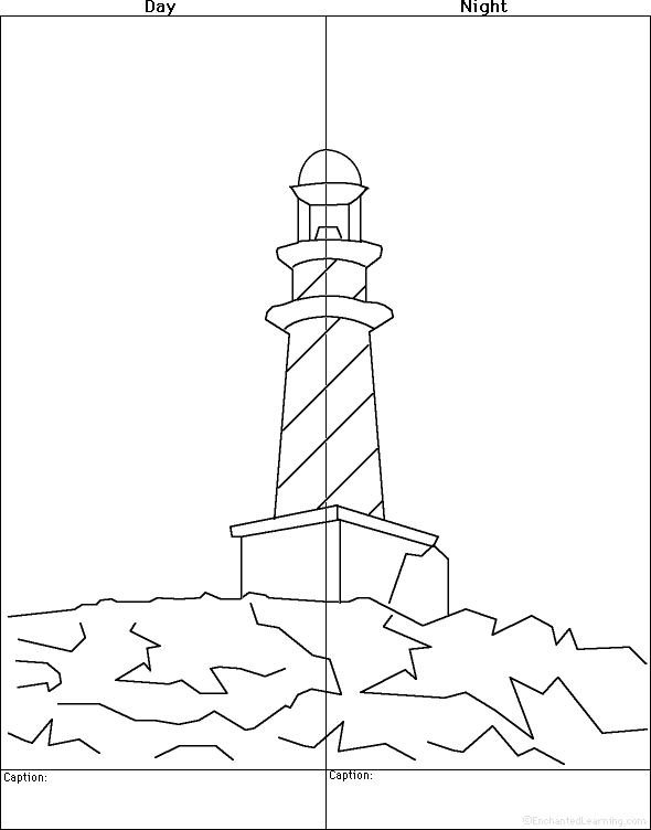 Lighthouse keepers lunch coloring book pages ~ lighthouse- by day and by night; symmetry lesson, too ...