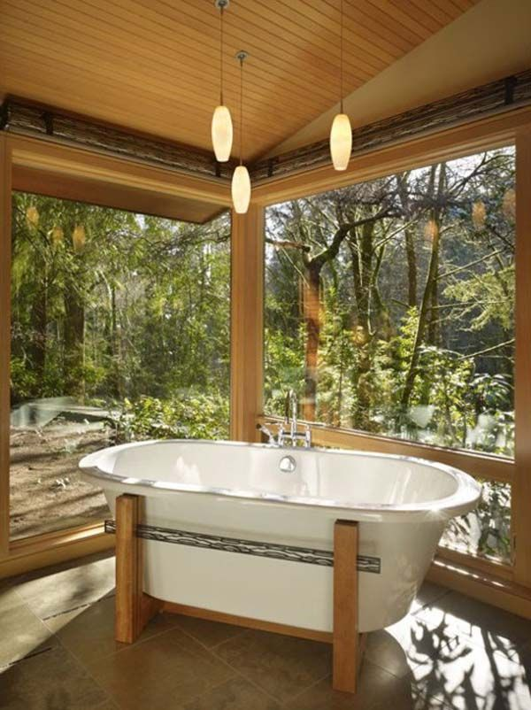 Earthy Bathroom With Natural Lanscape Outside