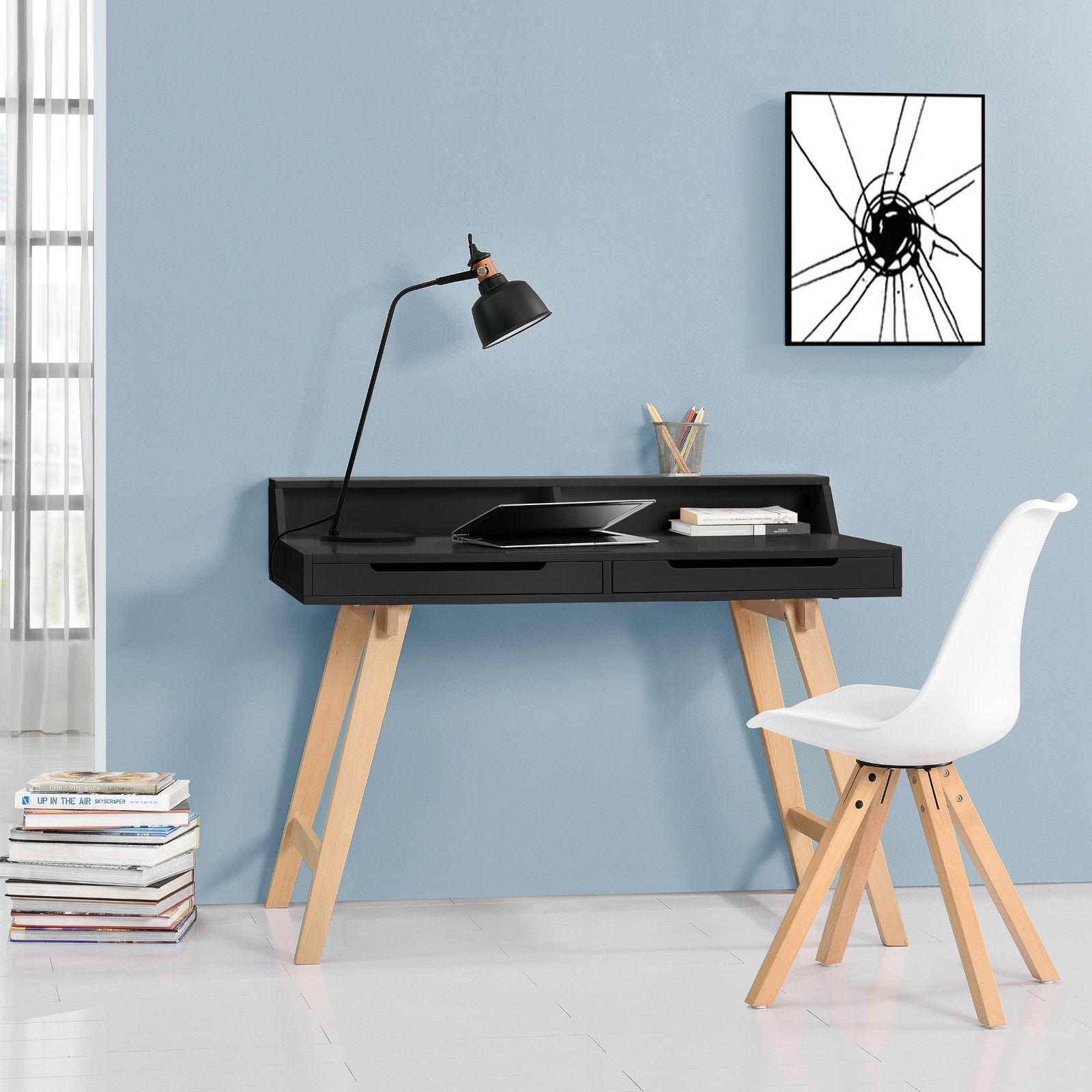 Computertisch design  En.casa ® Retro Schreibtisch schwarz buche Computertisch Büro ...