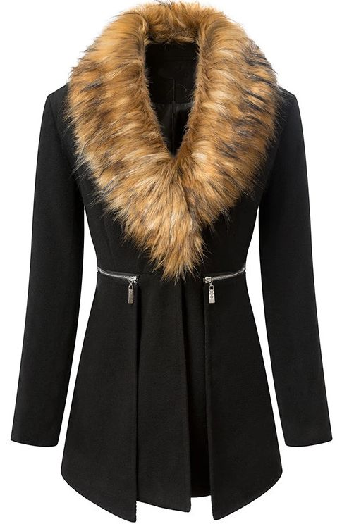 f827549876a8 Description Black coat featuring long styling,fur collar,long  sleeves,uinque lapel,from collar to waist with oblique zipper design,two  pockets on both of ...