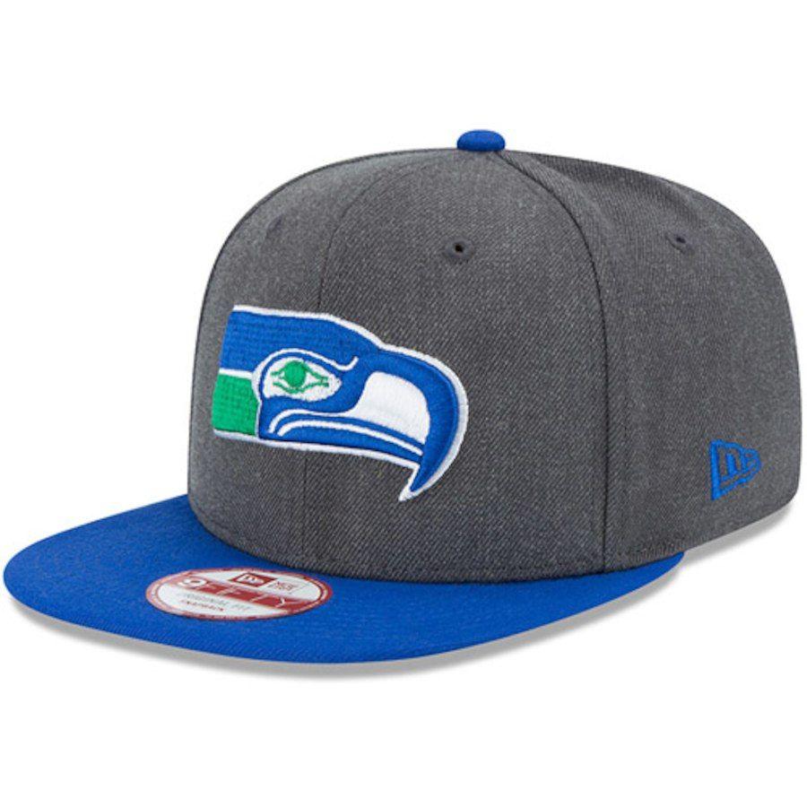 14a5b36e8 Men s New Era Heathered Charcoal Royal Seattle Seahawks Historic 9FIFTY  Adjustable Snapback Hat  NFL Shop
