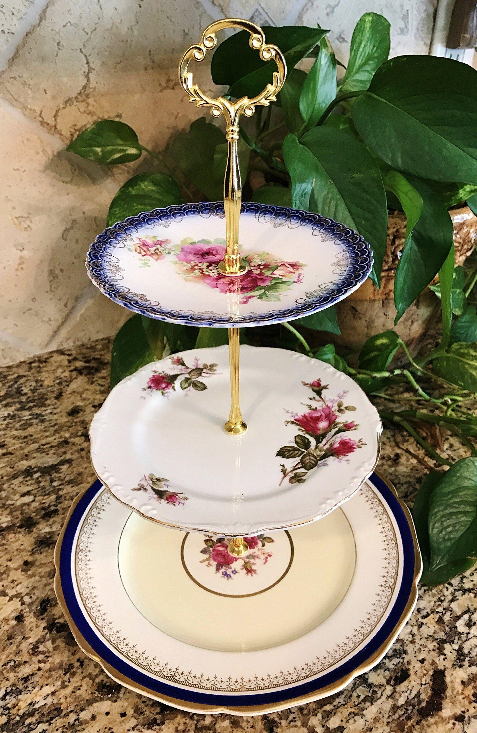 Three tier stand jewelry stand vanity stand cake plate tray