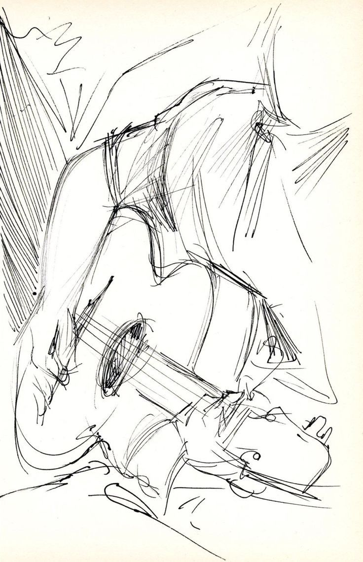 Photo of Guitarist – Original Pen & Ink Sketch – archived matted and assembled for St …