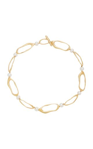 MODERN WEAVING Gold-Plated Bronze and Pearl Necklace. #modernweaving