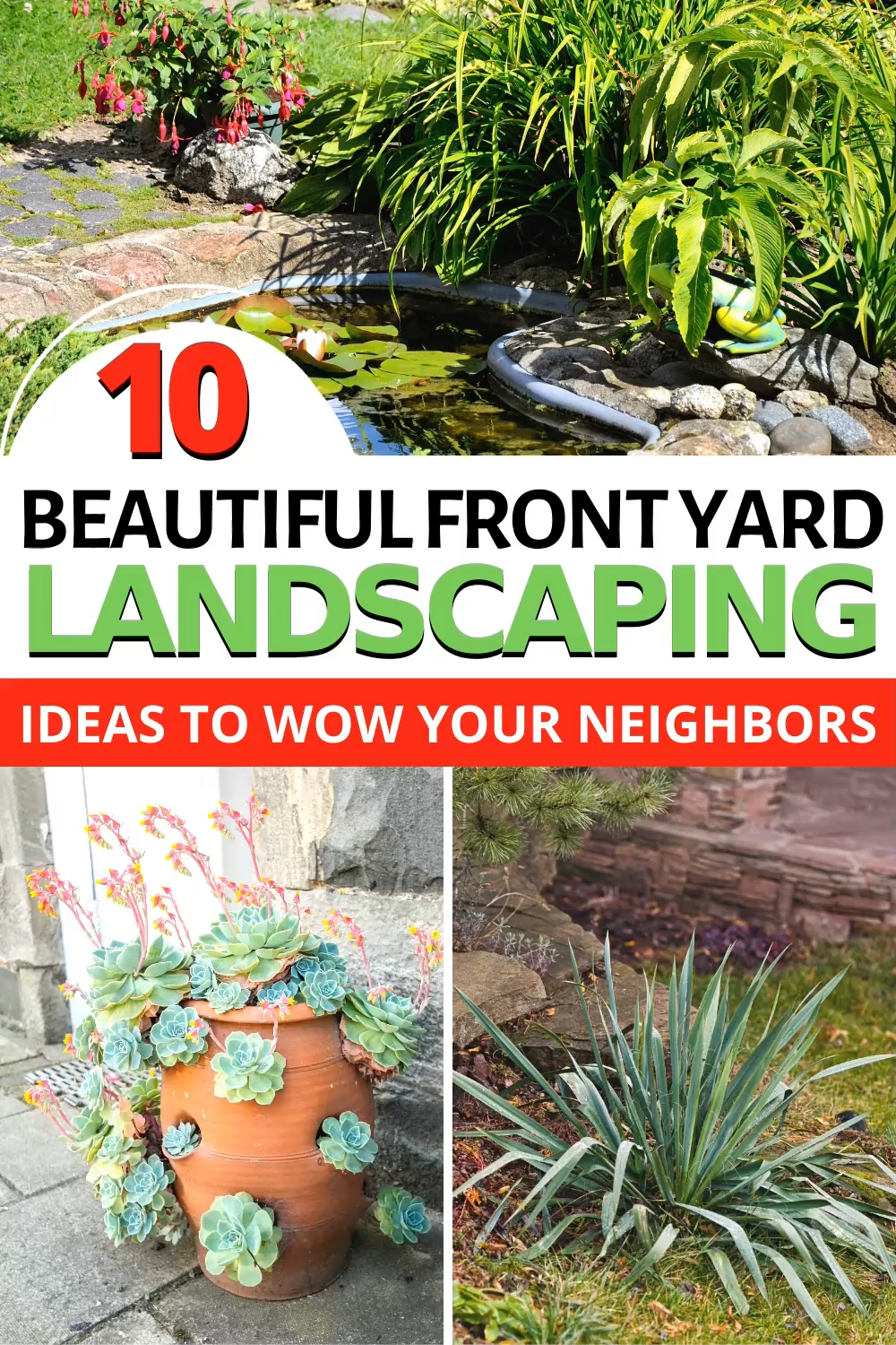 Does your front yard need a makeover? Need a little better curb appeal? Check out these 10 beautiful front yard landscaping ideas to help you out!