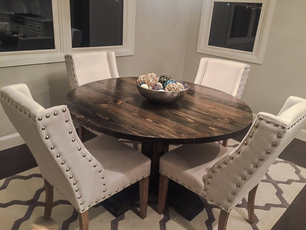 54 round pedestal table ana white dining table