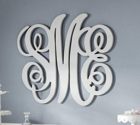 Painted Wood Monogram Initials Wall Decor By Craftymonograms 59 00 Monogram Wall Pottery Barn Kids Wood Monogram