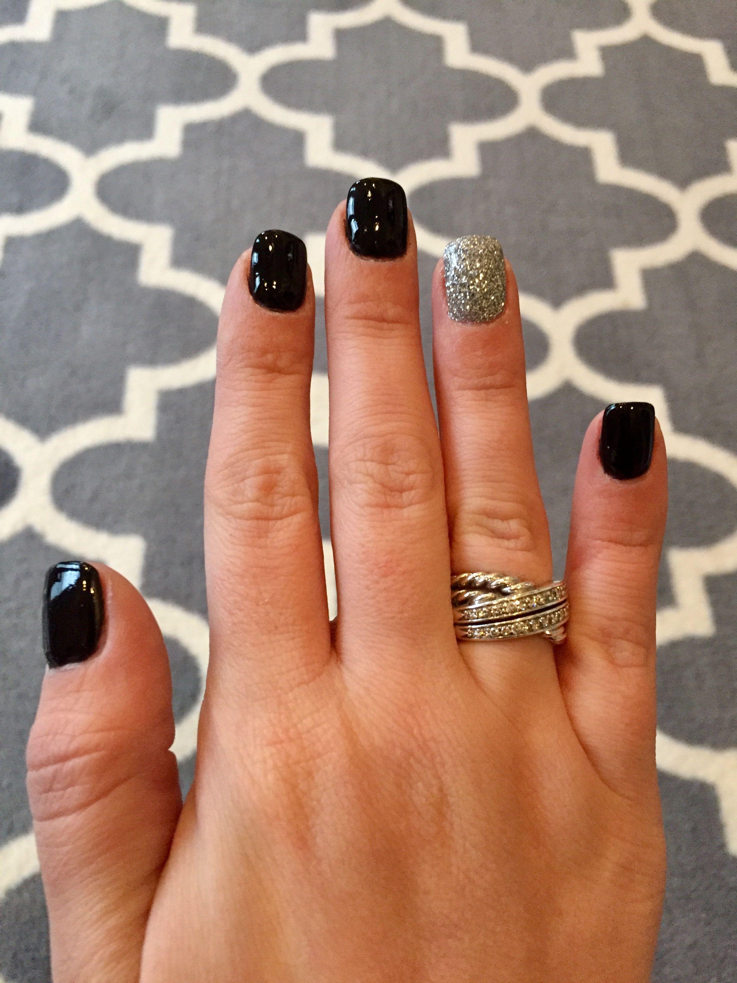 Winter Nails Opi Powder Black Sns 108 Silver