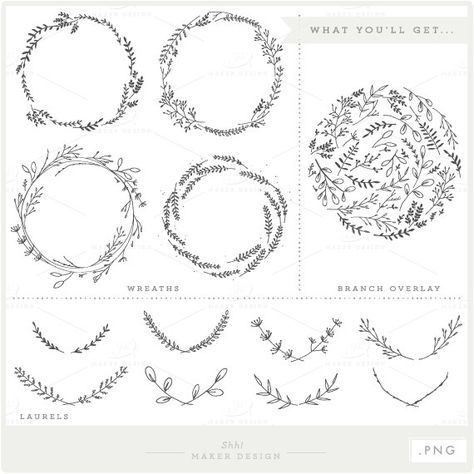 Branches Wreaths Laurels Bundle Png Files Clip Art Etsy Olive Branch Tattoo Branch Tattoo Photo Overlays
