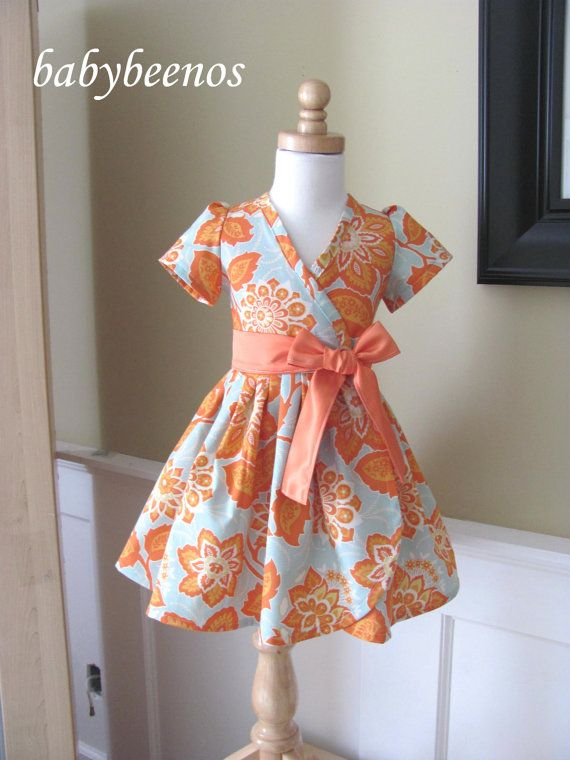 QUINN Girls dress - Girls Wrap Dress - TANGERINE
