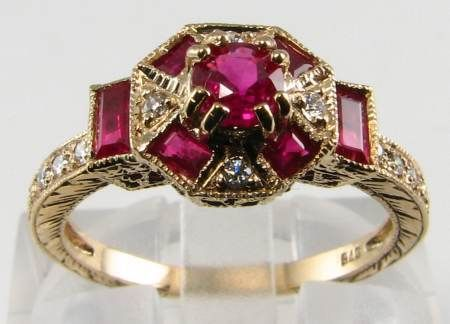 Vintage Art Deco Ruby Yellow Gold ring