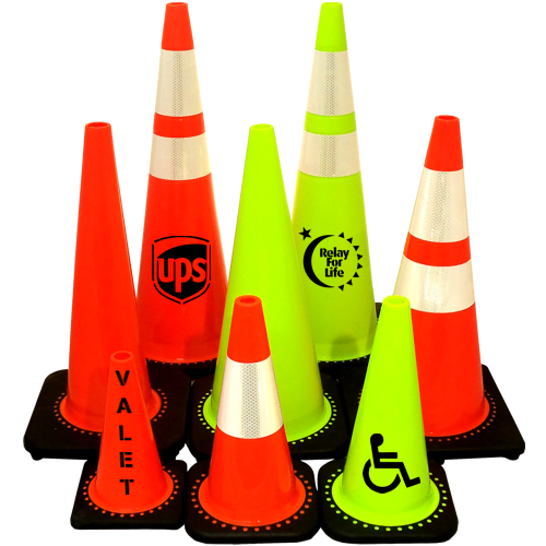 nice shot of lime and yellow customized traffic cones from