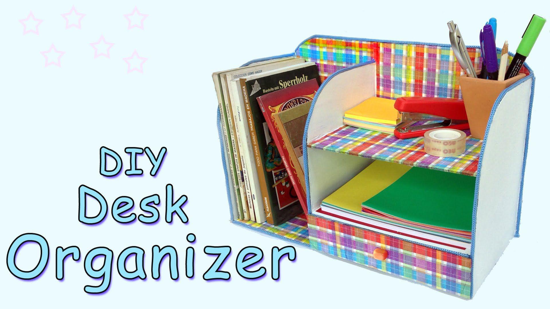 In This Video Tutorial I Show You Step By Step How To Make A Cute Desk Organizer Desk Organization Diy Diy Study Table Diy Organization