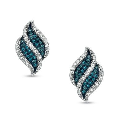 Zales 1/8 CT. T.w. Enhanced Blue and White Diamond Flower Drop Earrings in Sterling Silver LYv90