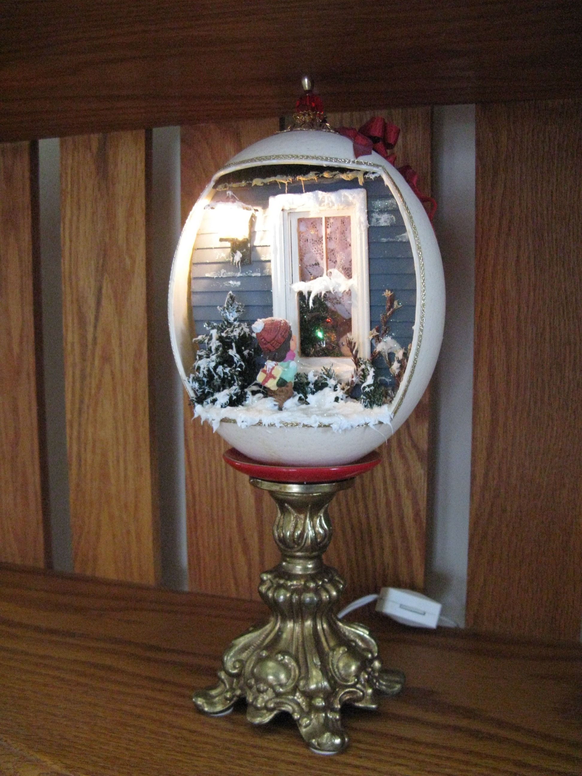 Ostrich Egg Christmas Diorama Made By Marilyn