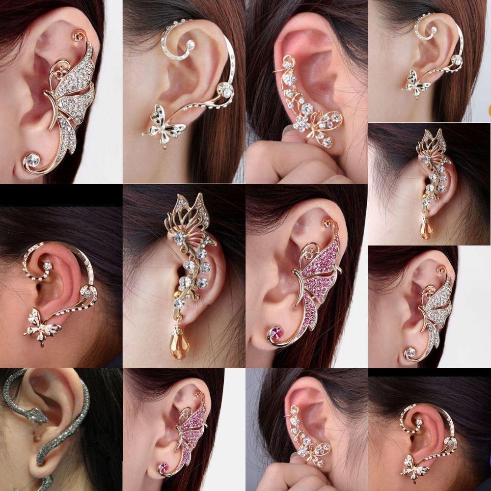 Stainless Steel Punk Hoop Earrings Cuff Wrap Ear Stud Clip Earrings Lady  X YR
