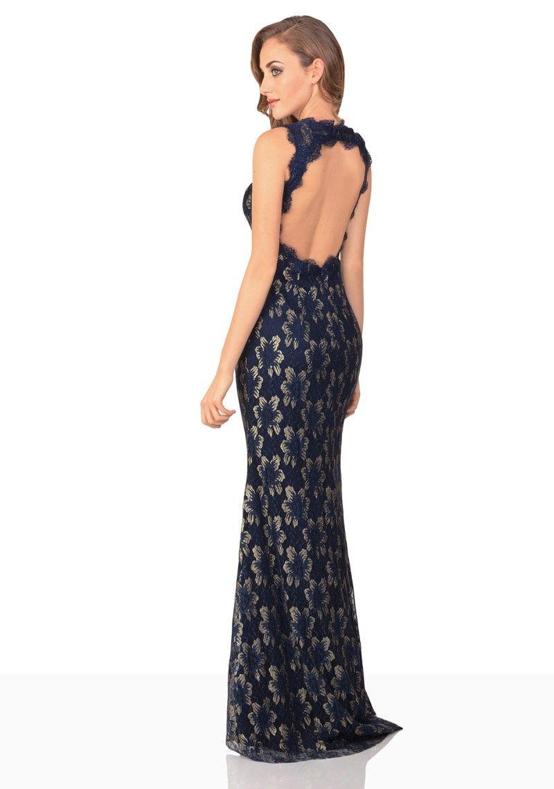 Abendkleid aus dunkelblauer Spitze - online bestellen bei vipdress.de