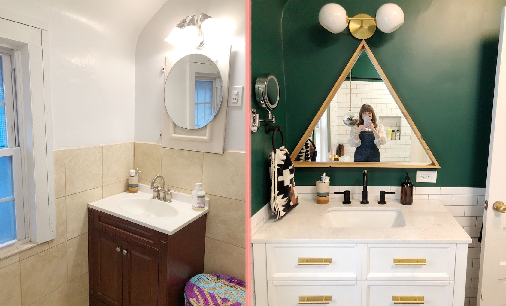 Before And After A Beige Bathroom Gets A Deep Green Refresh Beige Bathroom Dark Green Bathrooms Green Bathroom