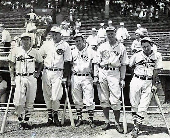 Joe Medwick Ernie Lombardi Mel Ott Wally Berger Jimmy Collins At The 1936 All Star Game In Boston St Louis Cardinals Joe Medwick Major League Baseball