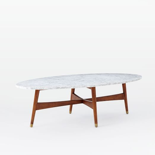 Reeve Mid Century Oval Coffee Table Marble Top Oval Coffee