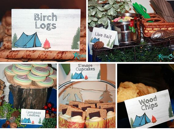 Camping Party Food Labels  Instantly Downloadable and