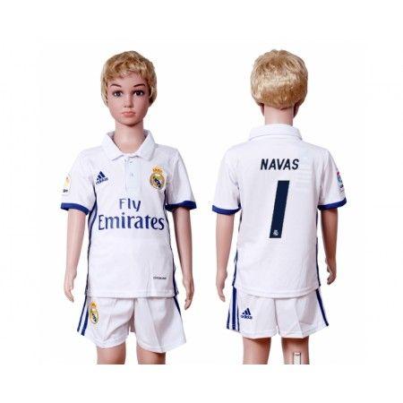 Real Madrid Trøje Børn 16-17 #Navas 1 Hjemmebanetrøje Kort ærmer.199,62KR.shirtshopservice@gmail.com