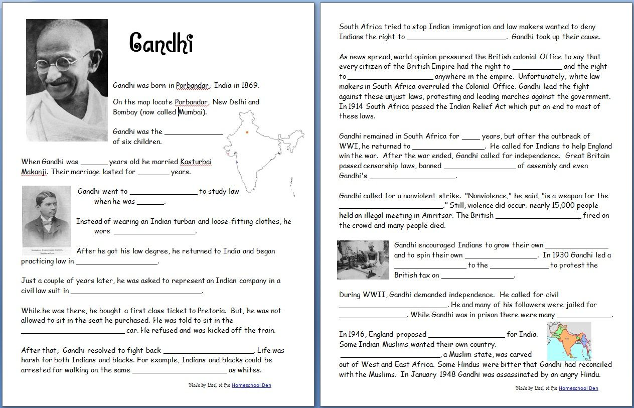 Gandhi (Free Worksheets/Notebook Pages) - Homeschool Den   Worksheets free [ 813 x 1264 Pixel ]