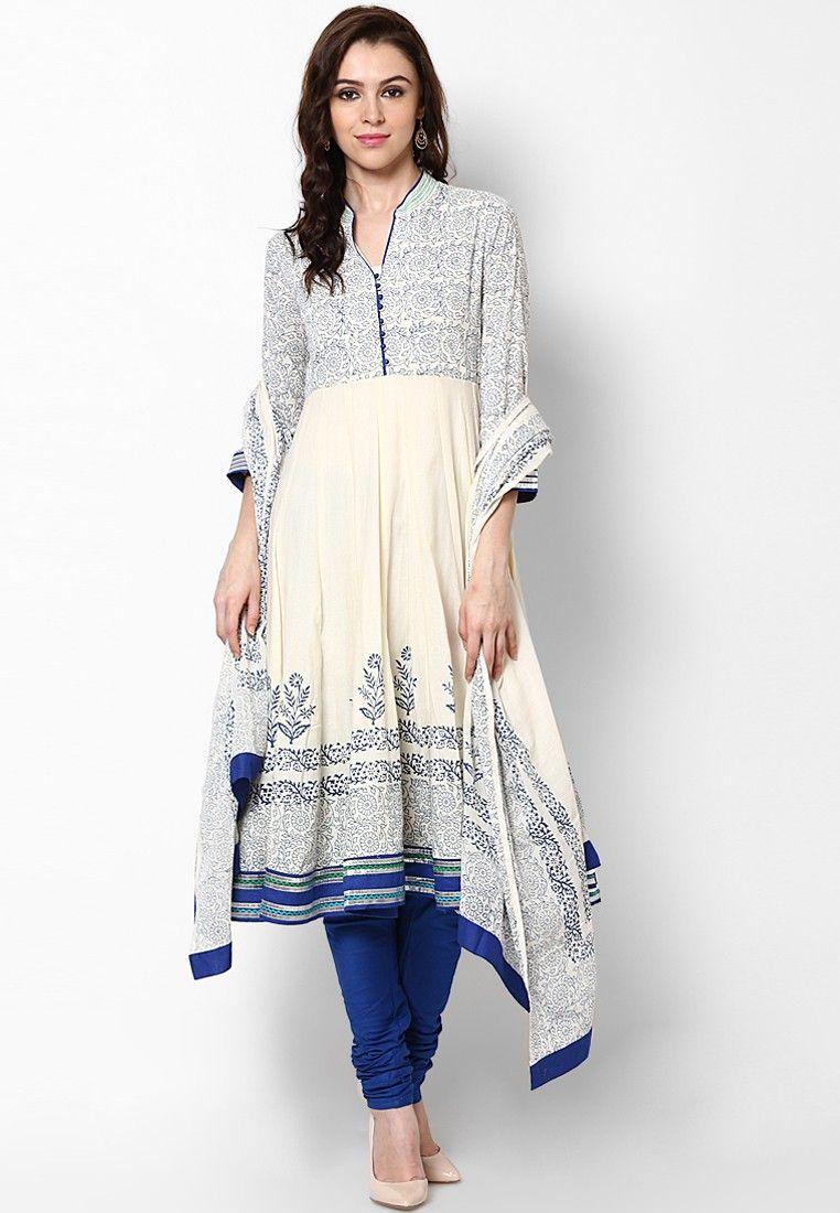 6ab266c4c52 Biba Off White Solid Cotton Churidar Kameez Dupatta - Buy Biba Women Salwar  Kameez Online