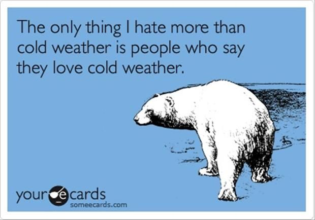 Free And Funny Christmas Season Ecard: The Only Thing I Hate More Than Cold  Weather Is People Who Say They Love Cold Weather.