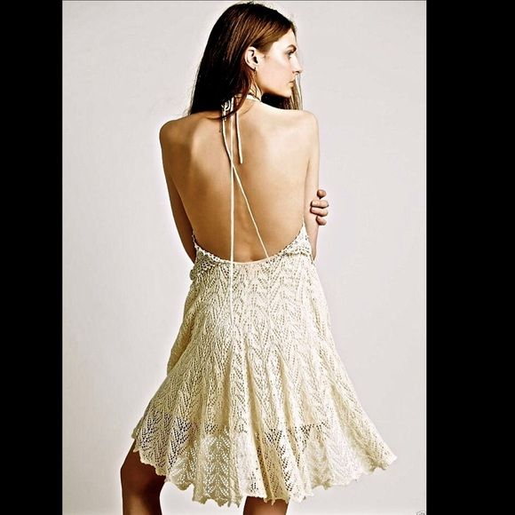 Free People Dresses - Free People ivory tan Crochet Lace Halter Dress S
