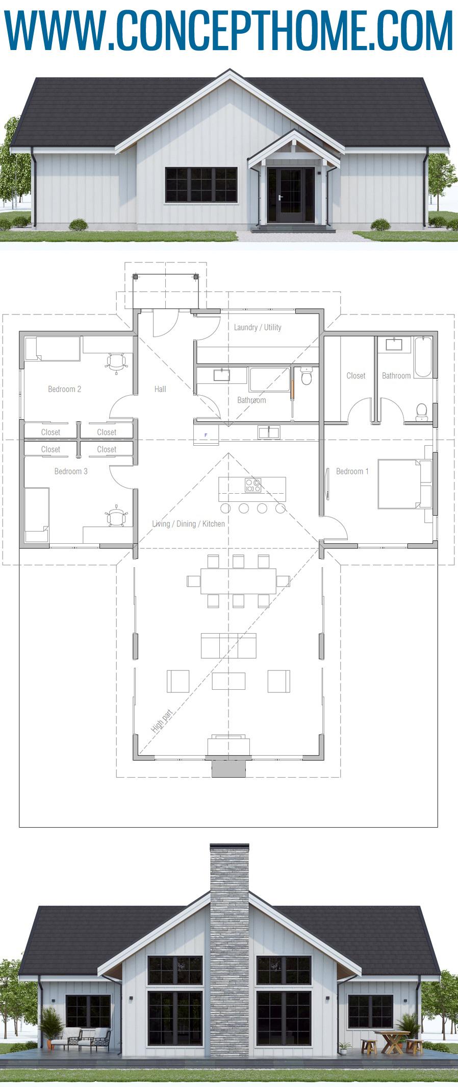 Single Story Home Plan Ch594 House Plans House Plans Farmhouse House Design