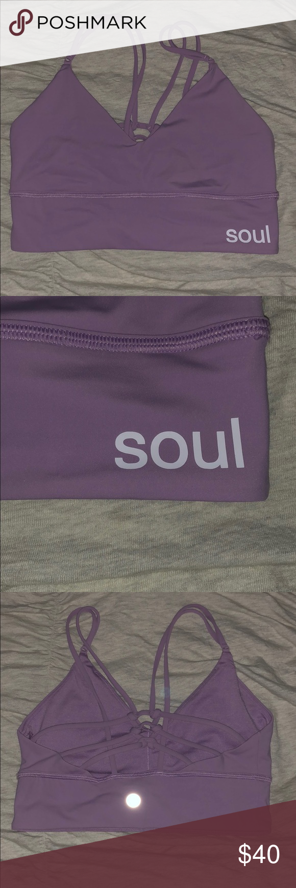 477b75d5c69af SoulCycle Lululemon Uncaged Bra Violetta Soul Cycle Light Purple Sports Bra.  Worn once. Braided back. Still available online but for much more. lululemon  ...