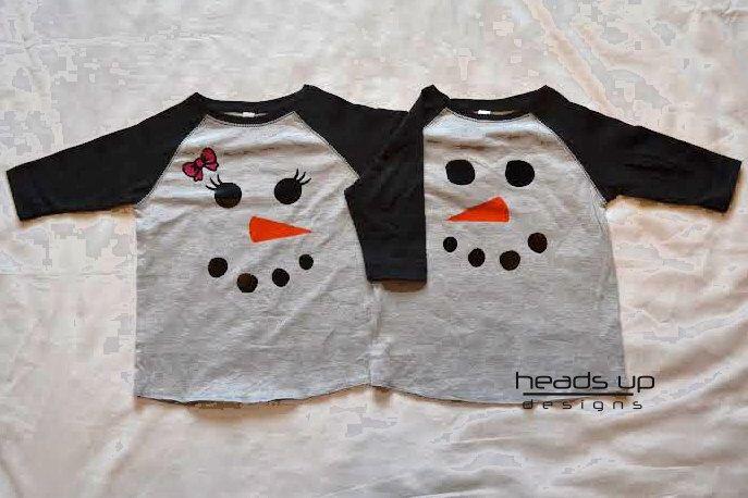 Twin Snowman Shirts Boy/Girl Raglan - Toddler Christmas tshirts Raglan Boy/Girl Twins/Siblings - Christmas Snomwan Onesies - Snowman Tee by Headsupshirtdesigns on Etsy https://www.etsy.com/listing/256453037/twin-snowman-shirts-boygirl-raglan