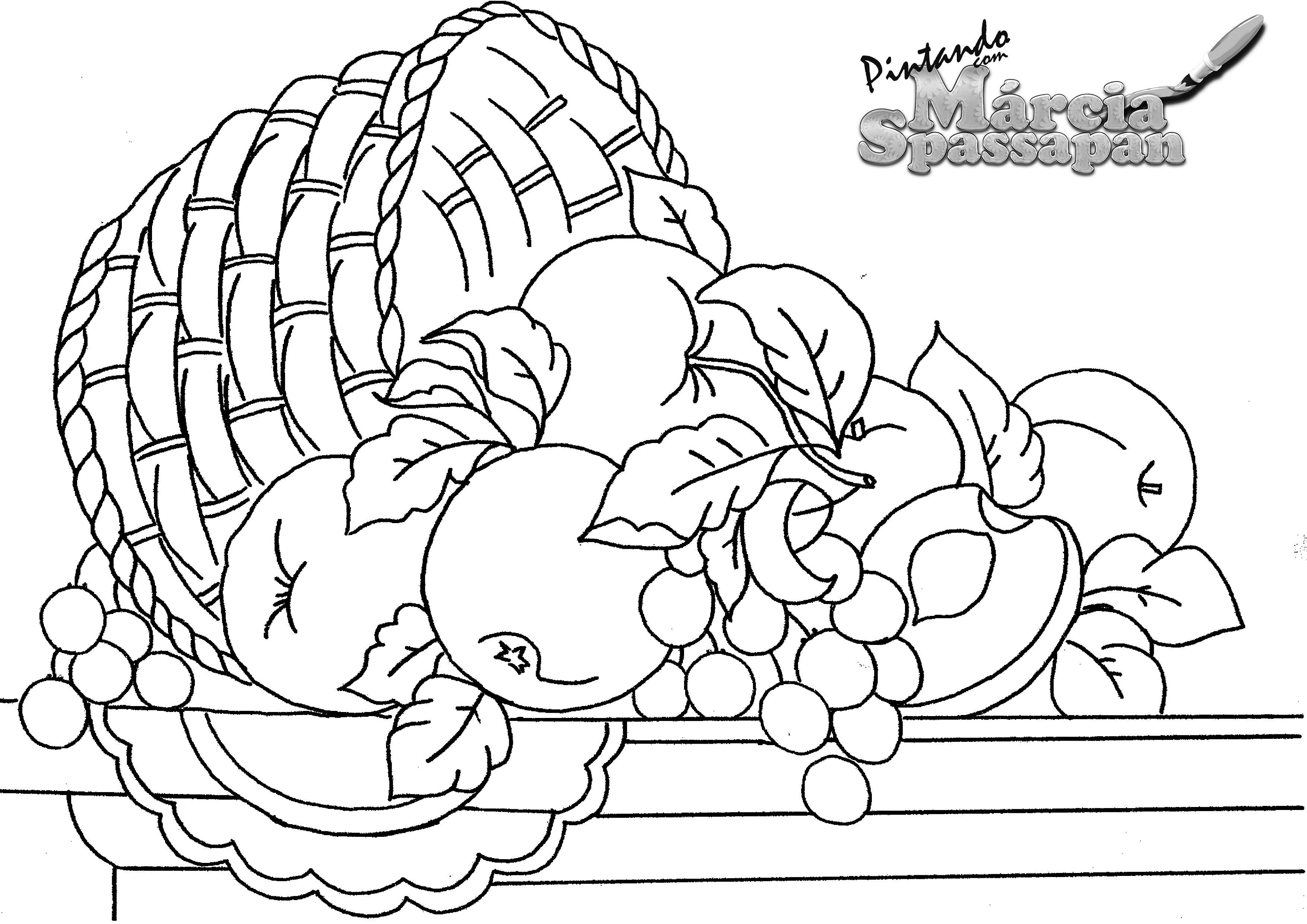 Pintura em Tecido   Aula Grátis   Cesta com Frutas   Rosas com ...