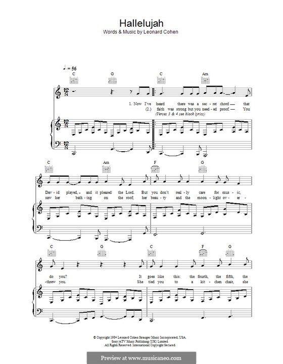 Hallelujah Partition Piano Gratuite Partition Piano Piano Gratuit