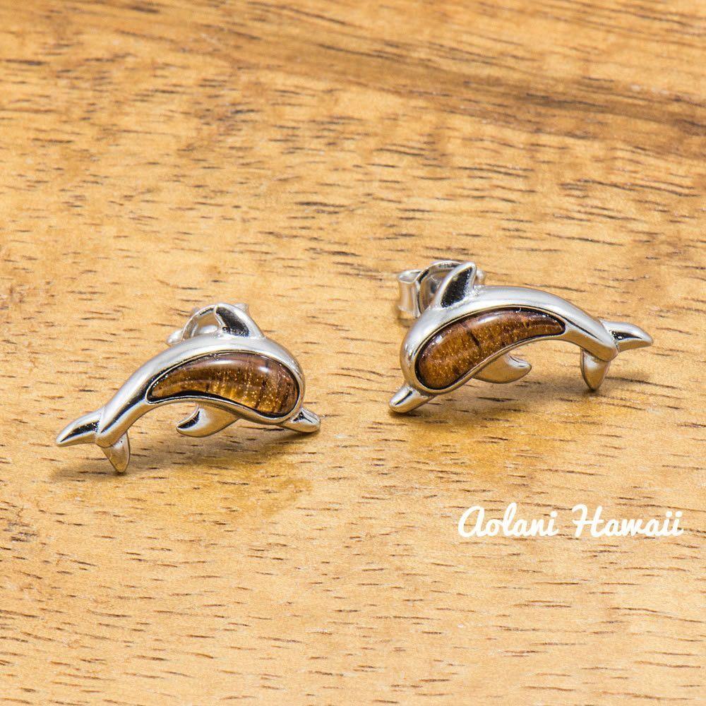 Sterling Silver Dolphin Earring Pierce with Hawaiian Koa Wood Inlay