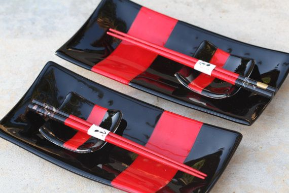 Fused Glass Sushi For Two Set by JMFusions on Etsy, $65.00