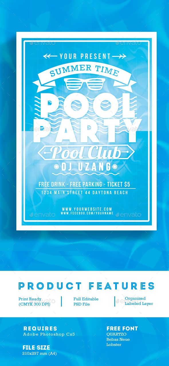 Pool Party Summer Time Flyer Template PSD. Download here: http ...