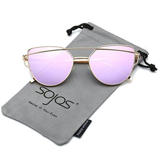 Mode Katze Auge Metall Farbe Sonnenbrille Brille Sonnenbrille , Goldrahmen Doppelt Grau